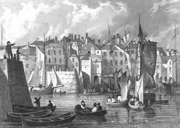 Plymouth_The Barbican, Pool & Co_steel engraving drawn by T. Allom, engraved by H. Wallis_1829