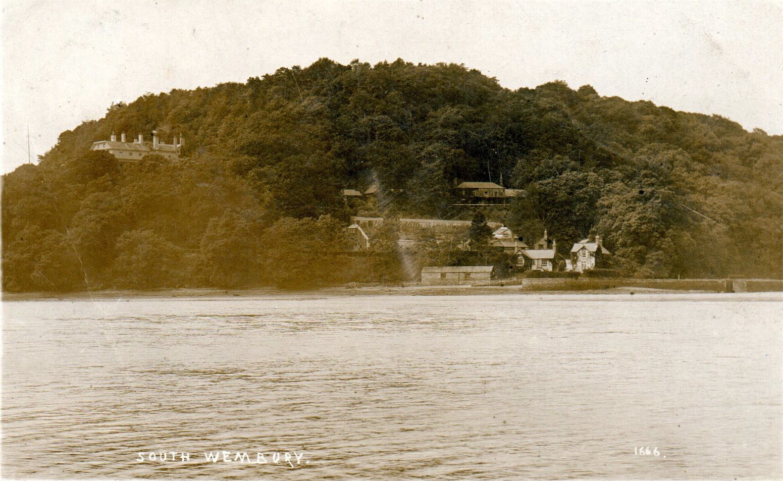 THORN FROM THE RIVER_1910s_postcard_1914_Thorn House, in isolation on the left_Fishpond Cottage and Boathouse Cottage