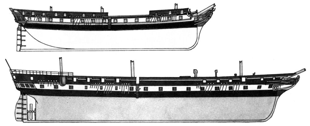 A conventional frigate compared with the much longer ship made possible by the 'Seppings_ system of construction