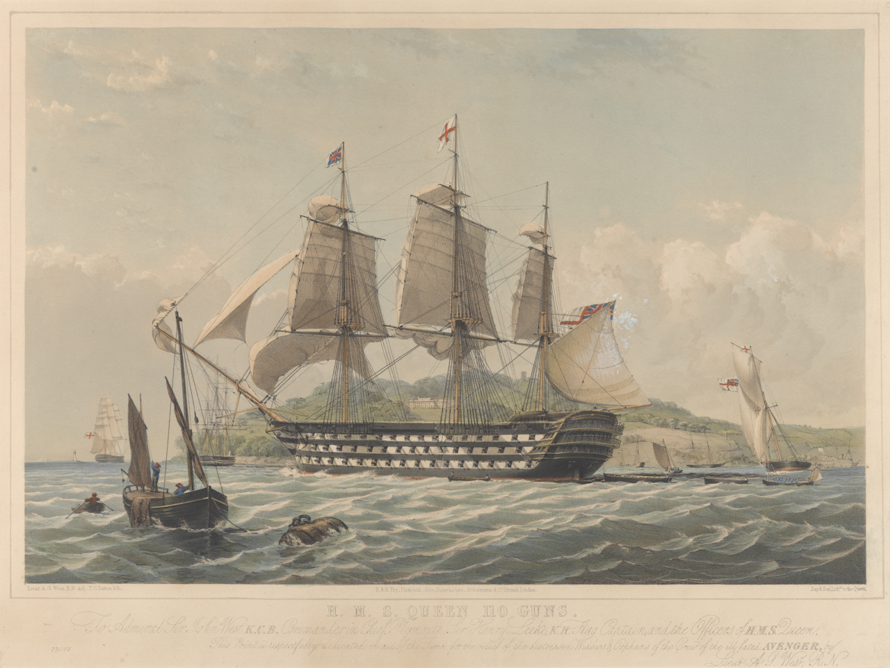 H.M.S. Queen, 110 guns... print... , PY0892