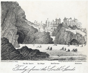 Tenby_from_the_south_sands - the_Du_Cavern,_Ivy_Cottages,_Rock_Terrace,_Rock_House